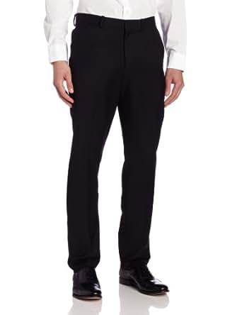 Perry Ellis Men's Slim Fit Flat Front Pant, Black, 30/29