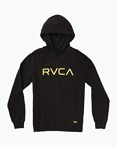 RVCA Men's Big Logo Pullover Hoodie, Black, XXL