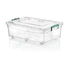 Large Heavy Duty caja de debajo de la cama de plástico con ruedas tapa transparente recipiente de almacenamiento, 30 litros: Amazon.es: Hogar