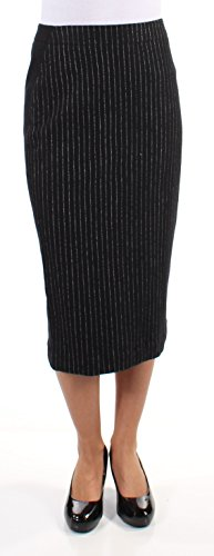 DKNY Womens New 1172 Black White Pinstripe Midi Pencil Wear to Work Skirt 2 B+B