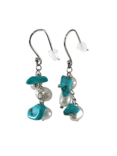 HinsonGayle Handpicked Freshwater Cultured Pearl & Turquoise Dangle Earrings Sterling Silver (Cultured Pearl Turquoise Ring)
