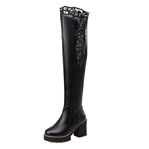 YE Damen Overknee Stiefel high heels Plateau mit Blockabsatz 8cm Absatz Reißverschluss Winter Boots Schwarz