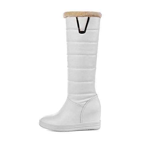 Allhqfashion Women's Round Closed Toe Kitten-Heels Soft Material High-top Solid Boots White ZQN0jz