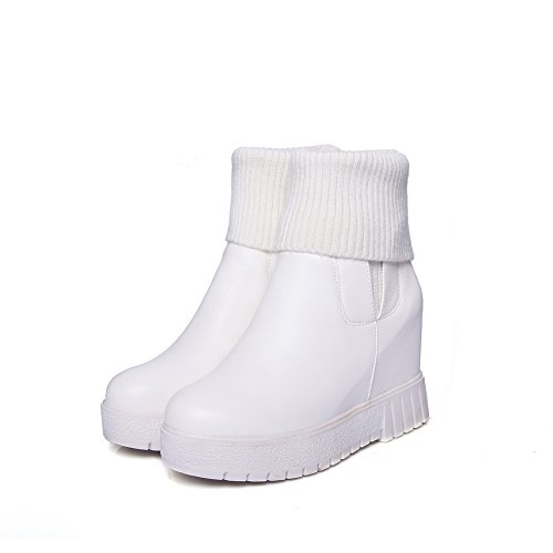 BalaMasa Inside Closure Heighten Boots Slouch ABL10512 White No Womens Urethane r4wqrPUH