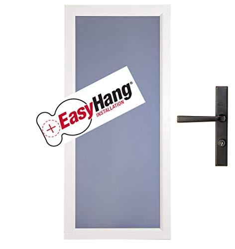 """Larson EasyHang Fullview Low-E Left Hinge 36"""" White Storm Door & Bronze Handle"""