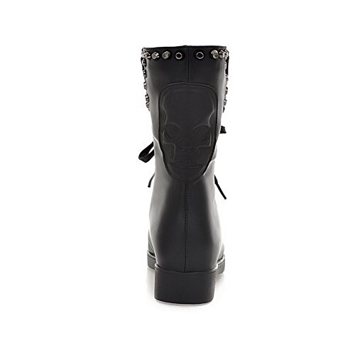 Low Solid 7 US Womens Heels Toe Rivet M Round with 5 Black Closed B Boots and AmoonyFashion Bandage Cow Leather Z8wqIHq