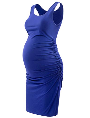 Maternity Dress,Sleeveless Midi Bodycon Dress for Pregnant Women,Casual Ruched Sides, Royal Blue M