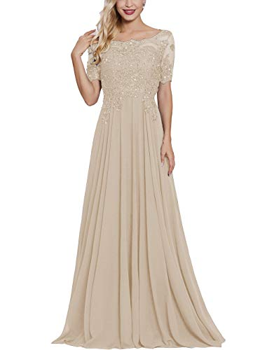 Petite Mother of The Bride Dresses with Short Sleeves Long Maxi Formal Evening Party Gown for Women Champagne
