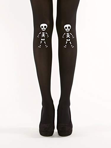 Cute Skeleton Semi Opaque Black Tights - Halloween Costume Pattern]()