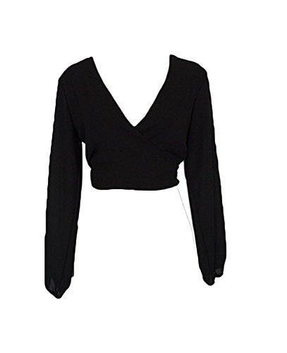 Solide Clubwear Chic de Mode Dos T Crop Col Tops Blouse Hauts Femme Minetom Mousseline Chemisier Parti Nu Shirt Soie Noir Sexy Bowknot t V BwqPWxEz