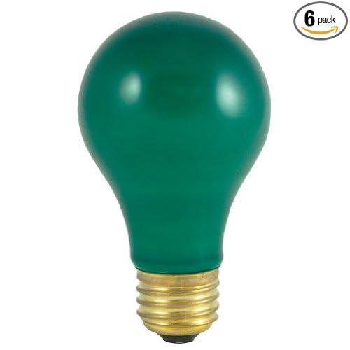 Bulbrite 60A//CG 60-Watt Incandescent Standard A19 Medium Base 6 Pack 106460 Ceramic Green