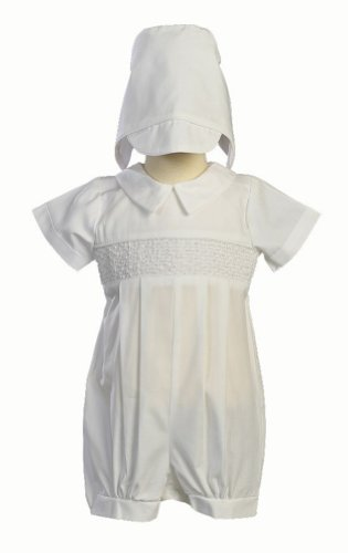 (Boy's Smocked Cotton Christening Baptism Romper with Hat Size XL (18-24 Months), White)