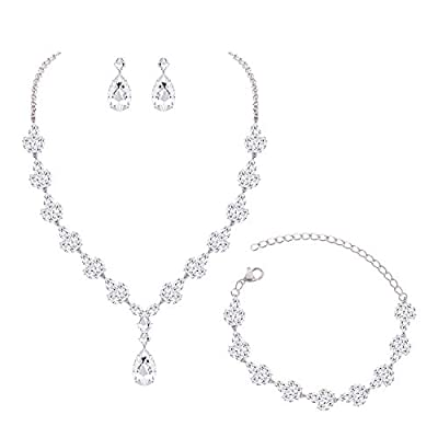 YSOUL CZ Zirconia Necklace Earrings Bracelet Jewelry Set for Prom Wedding Bridal Bridesmaid