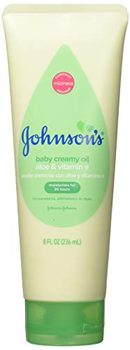 Johnson's Creamy Oil Moisturizing Baby Body Lotion, Hypoallergenic and Paraben Free, 8 fl. Oz (Pack of 3)