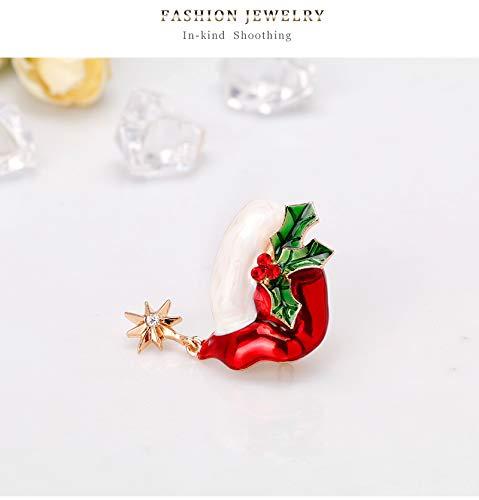 Dwcly Fashion Christmas X-Mas Santa Hat Holiday Enamel Lapel Pin