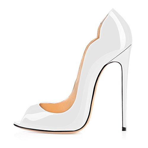 talon 12cm Soireelady Femme Femme Ouvert Bout Chaussures comfort Blanc Escarpins Aiguille Haut qTnqaf