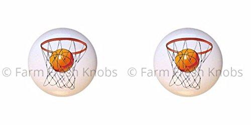 SET OF 2 KNOBS - Basketball Net Hoop - Sports and Recreation - DECORATIVE Glossy CERAMIC Cupboard Cabinet PULLS Dresser Drawer -