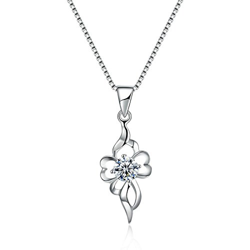 Epinki Women Pendant Necklace Sterling Silver Hollow Fancy White Chain Length: (His N Hers Costumes)
