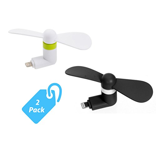 Control Fan Rotating - StyleTech Inc. Portable Cool Mini Rotating Fan for Apple Lighting Port Compatible with iPhone/iPods/iPad (2.) White + Black)