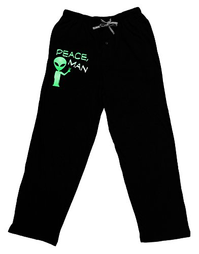 TooLoud Peace Man Alien Adult Lounge Pants - Black- Medium