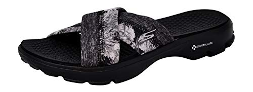 Skechers Women Go Walk Fiji Slide, Black/Black, 9 M US (Skecher Go Walk Sandals For Women)