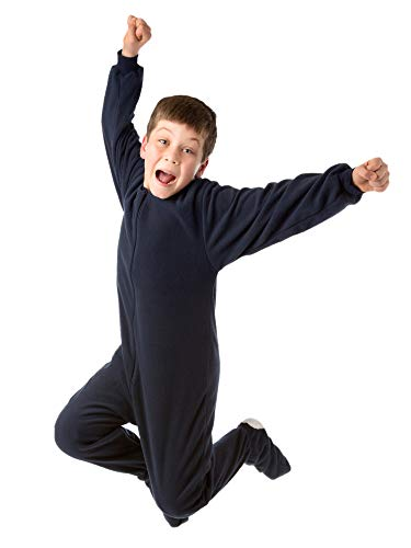 Big Feet Pjs Big Boys Junior Navy Fleece Footed Pajamas (X-Small) (Pajamas Footed Teens)