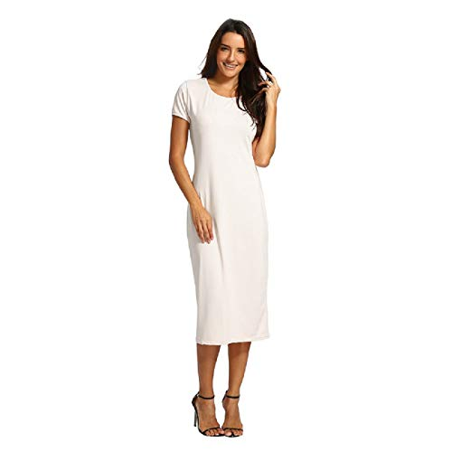 (Wintialy Women Solid Short Length O-Neck Mid-Calf Straight Dress Princess Dress White)