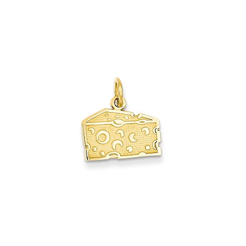 Solid 14k Yellow Gold Swiss Cheese Pendant