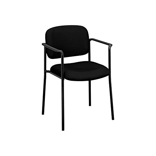 An Item of basyx by HON - VL616 Stacking Guest Chair with Arms - Black - Pack of 1 - Basyx Stacking Chair