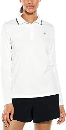 Coolibar UPF 50+ Women's Long Sleeve Birdie Golf Polo - Sun Protective (XX-Large- White Pique)