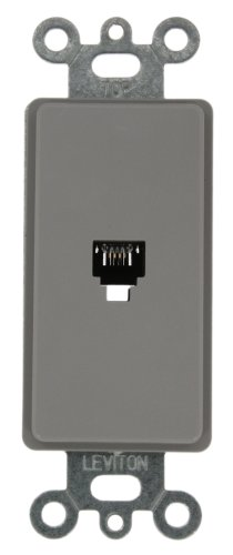 Leviton 40649-GY Decora Insert, 6P4C, Screw Terminals, (Wiring Telephone Wall Jack)