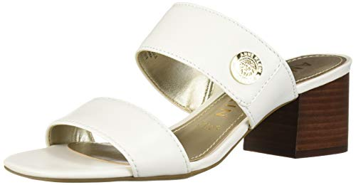 Anne Klein Women's Breeze Heeled Sandal, White, 8 M US (Slides Anne Klein)
