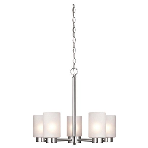 Sylvestre Five-Light Interior Chandelier, Brushed Nickel Finish with Frosted Seeded Glass (5 Light Chandelier)
