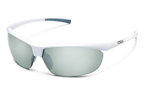 White Frame Silver Mirror Lenses - Suncloud Zephyr Polarized Sunglass with Polycarbonate Lens, White Frame/Silver Mirror