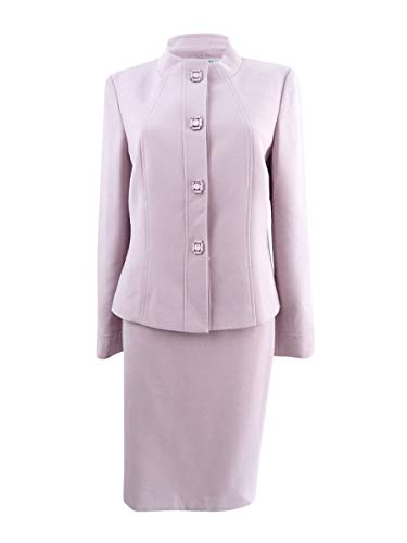 Tahari ASL Women's Jewel-Embellished Skirt Suit (16, Antique Pink)