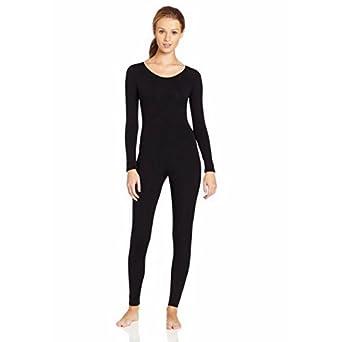 cae9119c86ae Womens Lycra Scoop Neck Long Sleeve Unitard Bodysuit Yoga Dancewear Costume  - black