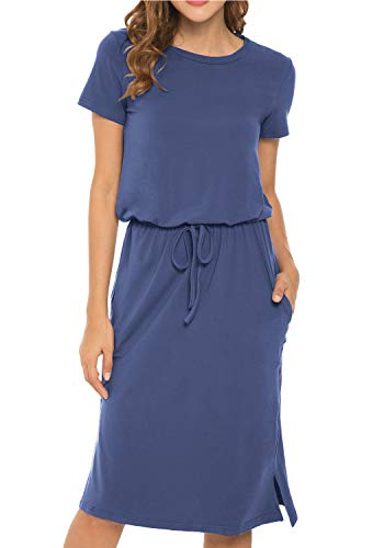 Women's Plain Short Sleeve Casual Pockets Modest Midi Dress with Belt LightBlue L