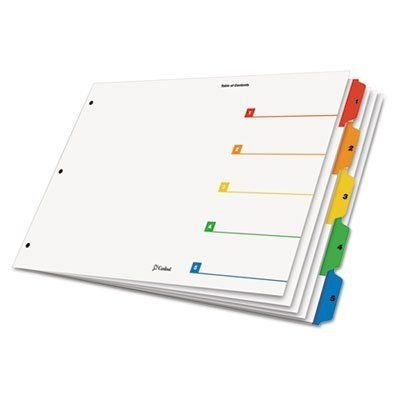 CARDINAL Tabloid OneStep Index System, 5-Tab, 1-5, 11 x 17 Inches, Multicolor Tabs, 5/Set (CRD84893)