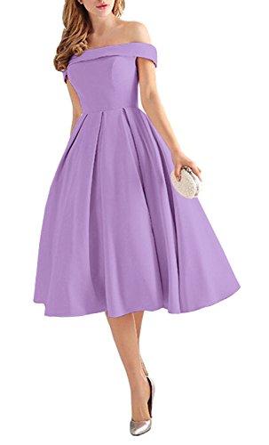 Off Shoulder Prom Dresses Tea Length Cocktail Evening Gowns Lilac Size 2 ()