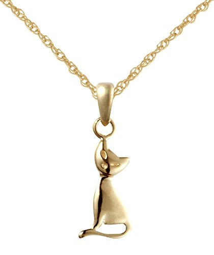 9ct Yellow Gold Cat Pendant with 18 9ct Gold Rope Chain Amazonco