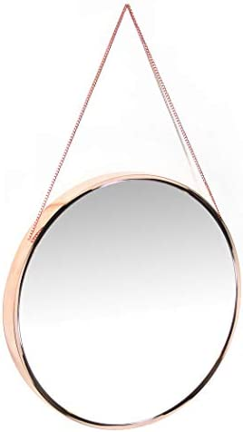 Franc Rose Gold Wall Mirror 17.5 Large Round Mirror with Chain Real Metal Chrome Rose Gold Finish Perfect for Girl s Room, Kid s Room, Bedroom, Bathroom, Makeup Mirror Rose Gold Decorative Hanging