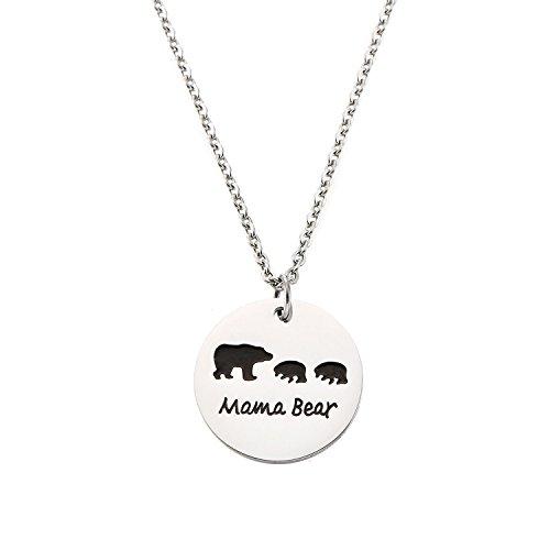 Bear Stainless Steel (Yolanda Sweet Family Mama Bear Necklace Stainless Steel Bear Cubs Pendant Gift For Mother (Two Cubs))
