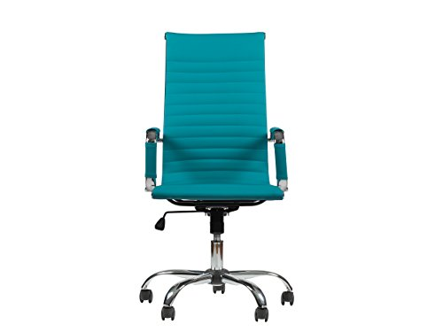 Winport Furniture WF-5050L High-Back Leather Executive Desk Chair, Sky Blue