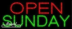 Open Sunday LED Sign - 27 x 11 x 1 inches - Made in (Open Sunday Neon Sign)