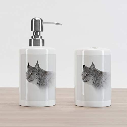 Ambesonne Hunting Soap Dispenser and Toothbrush Holder Set, Lynx in The Central Norway Wild Cat North Cold Snowy Mountain Carnivore Predator, Ceramic Bathroom Accessories, 4.5