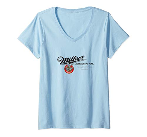 Womens Miller Brewing Co. Horizontal Graphic V-Neck T-Shirt