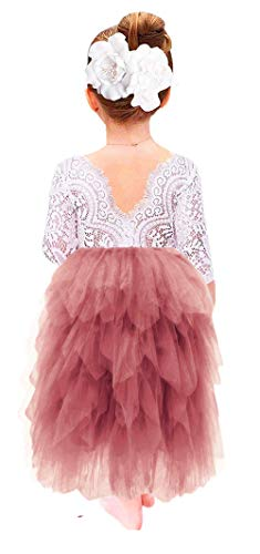 (2Bunnies Girl Peony Lace Back A-Line Tiered Tutu Tulle Flower Girl Dress (Dusty Rose Maxi, 24M/2T))