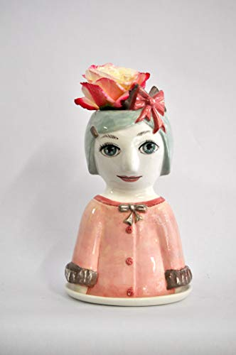 Hand Painted Ceramic Decorative Face Vases by Van der Vloed Studio (Pink Little Girl with Bow)