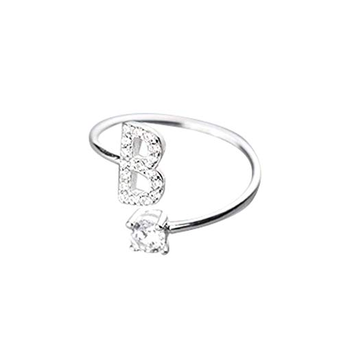 Orcbee  _Fashionable and Simple Opening 26 Letters with Diamond Ring Ladies Jewelry (B)