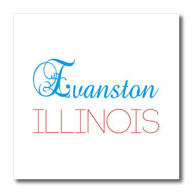 3dRose Alexis Design - American Cities Delaware-Kansas - Evanston, Illinois Blue, red Text. Patriotic Home Town Design - 10x10 Iron on Heat Transfer for White Material ()